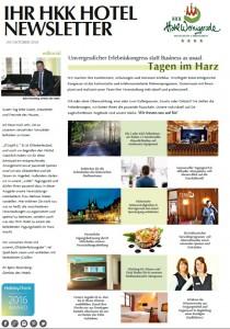 Newsletter - Hotel - Tagen - Harz - Urlaub - Herbst